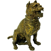 Large antique Vienna bronze DOG inkwell AS IS