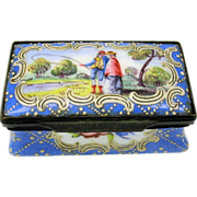 Early enamel patch box with couple FISHING