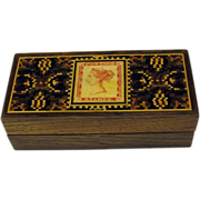 Tunbridge ware long stamp box with stamp representation