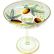 Rare pine cone engraved color gilded glass compote