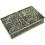 Vintage filigreed silvered Stamp box holder