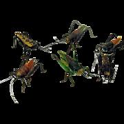 6 early Folk Art mixed media models of Grasshoppers bugs