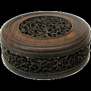Vintage carved Chinese rosewood Ginger jar vase lid