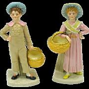 Pair Royal Worcester porcelain Kate Greenaway figures