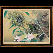 SOLD Vintage RAKUZAN Japanese woodblock Birds in nest