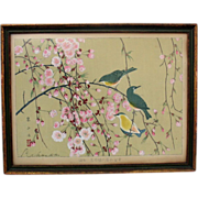 SOLD Vintage japanese woodblock by RAKUZAN Birds in Cherry Blossom