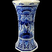 """Large hexagonal Porcelaine de Fles Dutch Delft vase 13 1/2"""""""