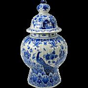 Big vintage Porcelaine de Fles Dutch Delft Ginger jar Peacock