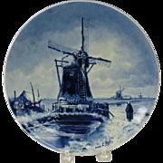 Artist signed Porcelain de Fles Dutch Delft wall plate Windmill