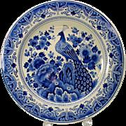 Big vintage Porcelaine de Fles Dutch Delft wall charger Peacock