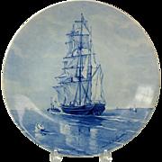 Artist signed Porcelain de Fles Dutch Delft wall charger TALL SHIP