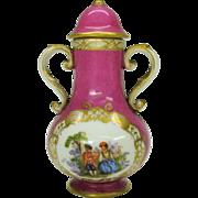 Antique Meissen porcelain miniature lidded urn