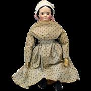 """22"""" glass eyed paper mache Greiner doll all original"""
