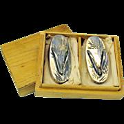 Vintage Japanese sterling silver figural wedge flip flop Salt & Pepper shakers boxed