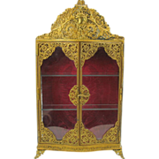 Antique ormolu Fashion doll display cabinet for miniatures