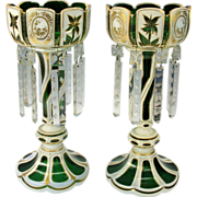 Most unusual Bohemian overlay glass Mantle Luster's