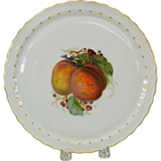 """Hand painted KPM cabinet plate featuring a PEACH 8"""""""