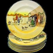 "Set 8 vintage Royal Doulton Hunt scene plates 8"""
