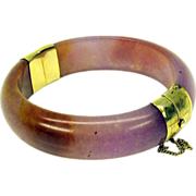 Vintage lavender jade and 14k gold plated bangle bracelet