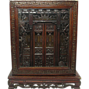 Antique Chinese model Temple Shrine in original case finely carved