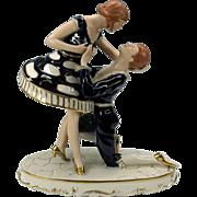 Art Deco Royal Dux Bohemia double figure-Flapper girl dancing amazing dress!