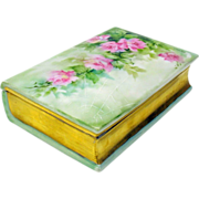 Unusual hand painted Limoges book form box with cobweb & roses