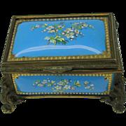Antique TAHAN French enamel dresser box AS IS