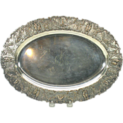 Antique repousse silver on copper fancy serving tray