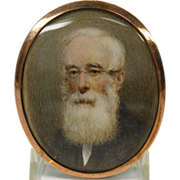 Fine quality antique portrait miniature of a gentleman with white beard glasses
