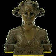 Fine Art Nouveau bronze cabinet figure bust of goddess ASTARTE