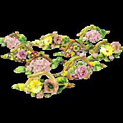 Set 9 large antique German porcelain Botanical Menu place card holders florals