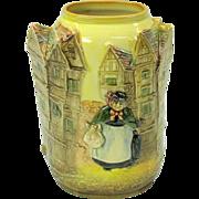 Rare Royal Doulton 3D Dickens ware vase of houses & Sairey Gamp