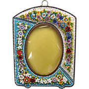 """Large hanging vintage Italian micro mosaic portrait frame 5"""" by 3 3/4""""."""
