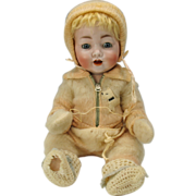 """17"""" Koenig & Wernicke German 99 bisque head Character baby doll with mystery number"""