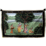 Antique Indian hand painted silk Temple wall hanging-God dancing to flute being played by wome
