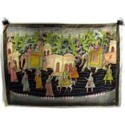 Antique Indian hand painted silk Temple wall hanging Elephant parade procession through a town
