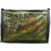 Antique Indian hand painted silk Temple wall hanging horses and elaborate float type carriage-