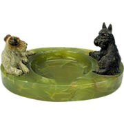 1900's Austrian cold painted double bronze of a Scottie and Terrier dog