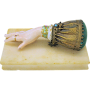 SOLD Victorian porcelain and gilt metal Ladies hand pin cushion on marble base