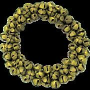 Antique miniature wreath or circlet of gilded metal bells
