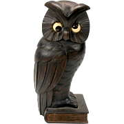 Vintage carved wood OWL on book novelty clock with time telling eyes