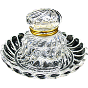 Large antique Baccarat glass molded desk inkwell