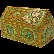 Vintage Italian majolica intaglio decorated dresser casket box