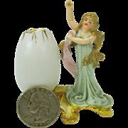 Great quality antique miniature German bisque Art Nouveau Lady dolls house vase