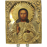 """Early Russian Icon painted and gilded silver  10"""" by 8"""""""