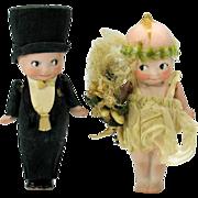 Pair of Rose O'Neill Kewpie Bride and groom all original bisque Kewpie dolls
