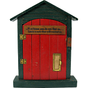 1920's painted wood house shaped calling card or note holder