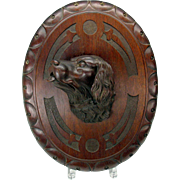 Large 3D carved Black Forest wood Dog head wall plaque roundel