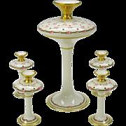 5 piece Limoges porcelain center piece flower frog vase set M. De Mavaleix