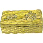 Japanese Meiji gilt metal stamp box with dressed RATS on it
